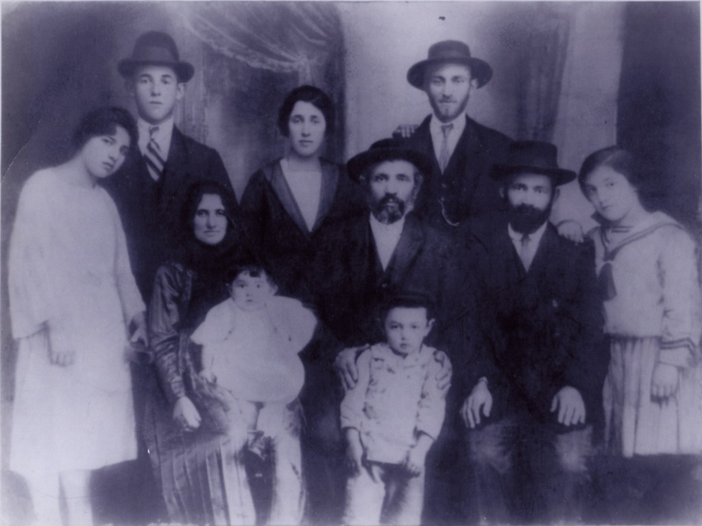 (left to right) Aunt Sadie, unknown, Grandmother, Bela (younger brother), Pearal, Ernest (older brother), Shalom (Pearal's father), Joseph, Joseph's father, Joseph's sister